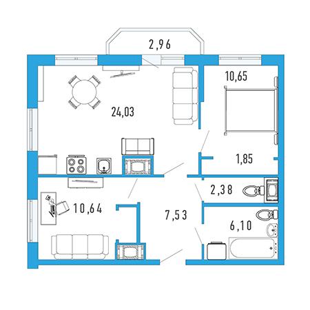 Планировка Двухкомнатная квартира площадью 64.85 кв.м в ЖК «Три кита 1»
