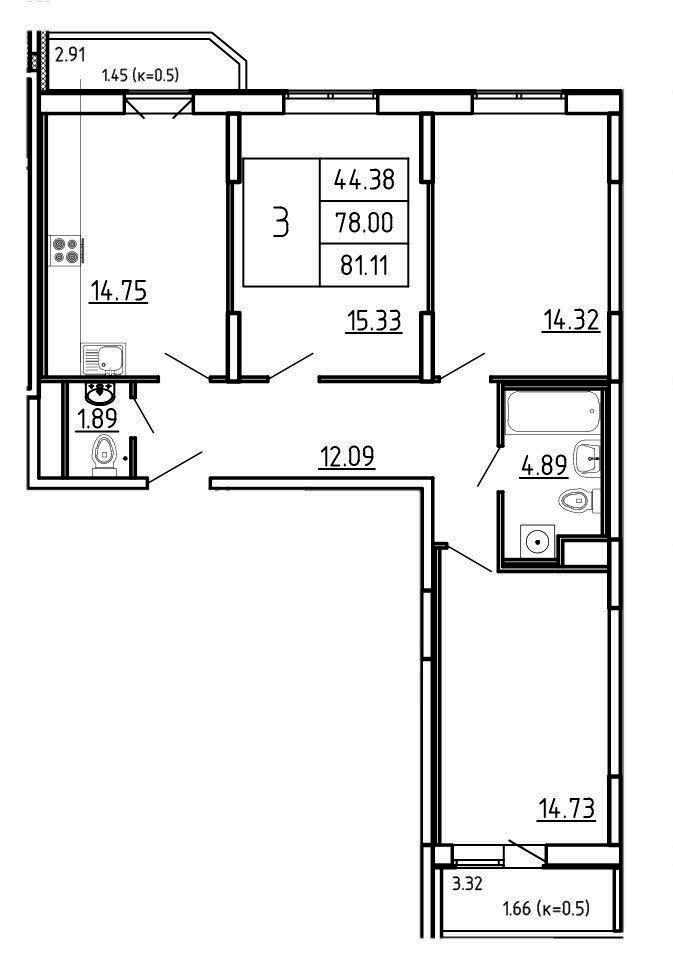 Планировка Трёхкомнатная квартира площадью 81.11 кв.м в ЖК «Три Кита»