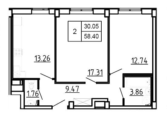 Планировка Двухкомнатная квартира площадью 58.4 кв.м в ЖК «Три Кита»
