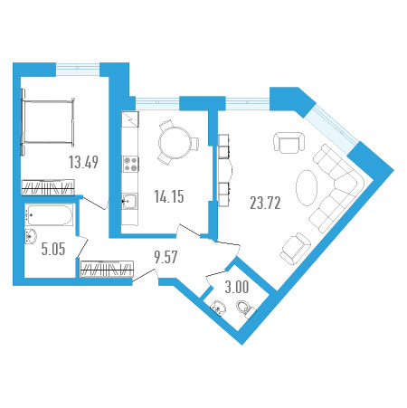 Планировка Двухкомнатная квартира площадью 68.98 кв.м в ЖК «Три кита 1»