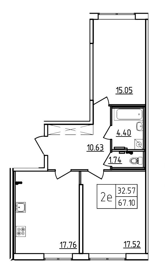 Планировка Трёхкомнатная квартира (Евро) площадью 67.1 кв.м в ЖК «Три Кита»