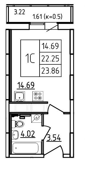Планировка Студия площадью 23.86 кв.м в ЖК «Три Кита»