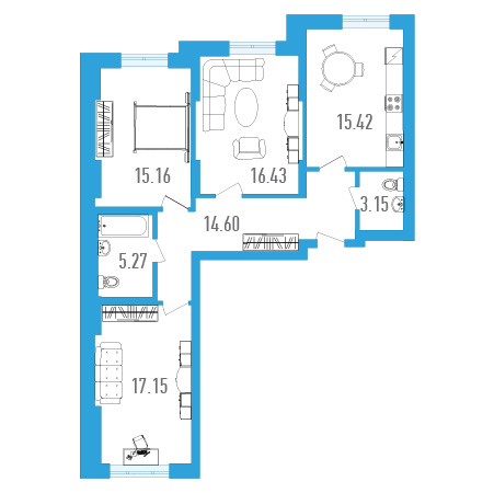Планировка Трёхкомнатная квартира площадью 87.18 кв.м в ЖК «Три кита 1»