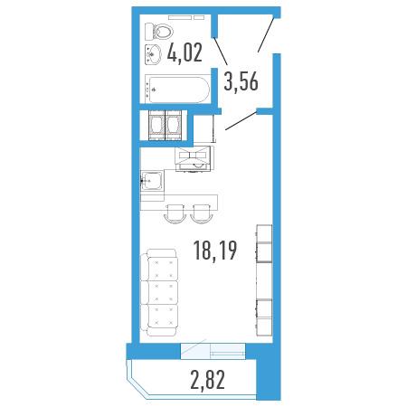 Планировка Однокомнатная квартира площадью 27.18 кв.м в ЖК «Три кита 1»