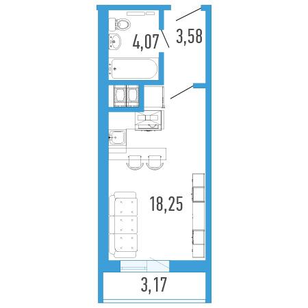 Планировка Однокомнатная квартира площадью 27.48 кв.м в ЖК «Три кита 1»