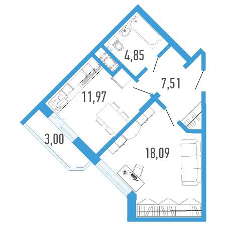 Планировка Однокомнатная квартира площадью 43.82 кв.м в ЖК «Три кита 1»