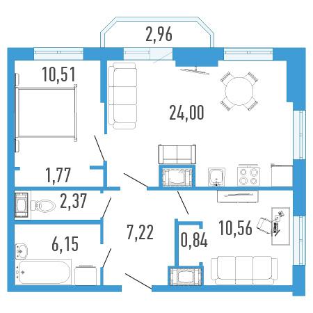 Планировка Двухкомнатная квартира площадью 64.3 кв.м в ЖК «Три кита 1»