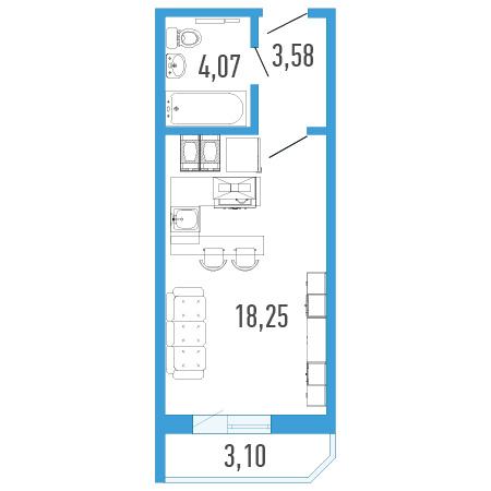 Планировка Однокомнатная квартира площадью 27.45 кв.м в ЖК «Три кита 1»