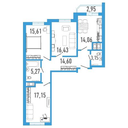 Планировка Трёхкомнатная квартира площадью 87.27 кв.м в ЖК «Три кита 1»