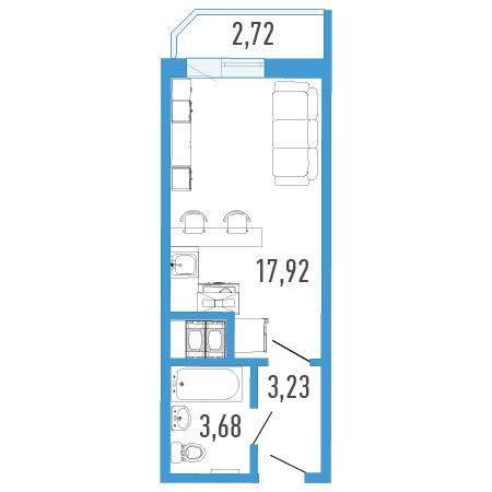 Планировка Однокомнатная квартира площадью 26.19 кв.м в ЖК «Три кита 1»