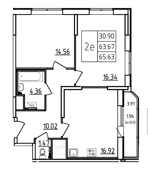 Планировка Трёхкомнатная квартира (Евро) площадью 65.63 кв.м в ЖК «Три Кита»