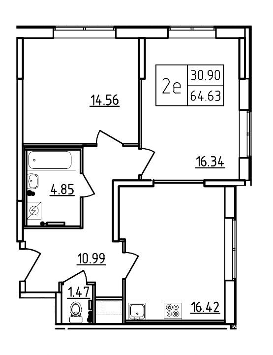 Планировка Трёхкомнатная квартира (Евро) площадью 64.63 кв.м в ЖК «Три Кита»