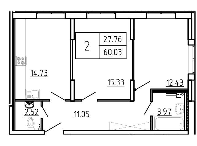 Планировка Двухкомнатная квартира площадью 60.03 кв.м в ЖК «Три Кита»