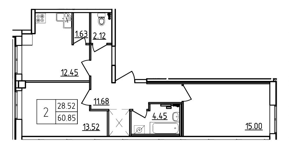 Планировка Двухкомнатная квартира площадью 60.85 кв.м в ЖК «Три Кита»
