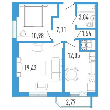 Планировка Двухкомнатная квартира площадью 56.96 кв.м в ЖК «Три кита 1»