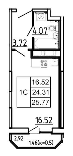 Планировка Студия площадью 25.77 кв.м в ЖК «Три Кита»