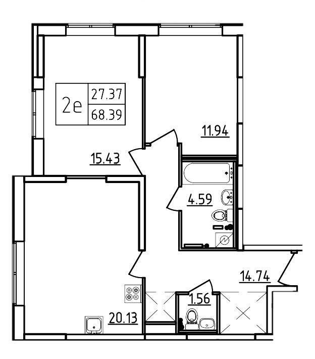 Планировка Трёхкомнатная квартира (Евро) площадью 68.39 кв.м в ЖК «Три Кита»