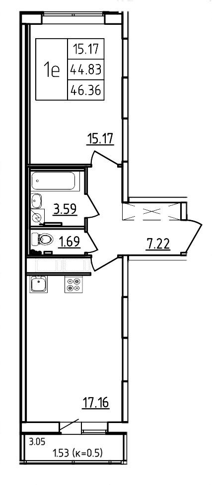 Планировка Двухкомнатная квартира (Евро) площадью 46.36 кв.м в ЖК «Три Кита»