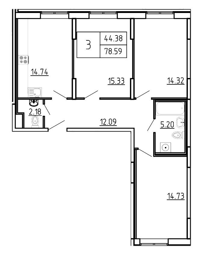 Планировка Трёхкомнатная квартира площадью 78.59 кв.м в ЖК «Три Кита»