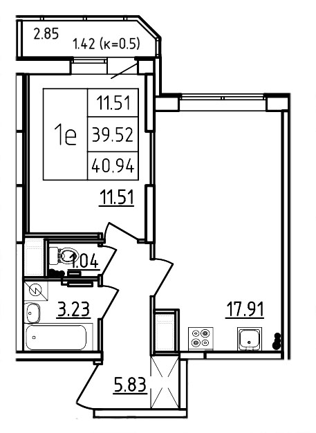 Планировка Двухкомнатная квартира (Евро) площадью 40.94 кв.м в ЖК «Три Кита»